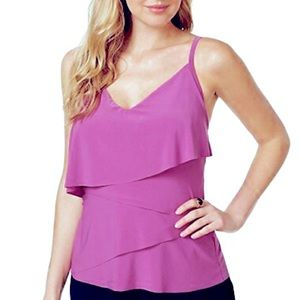 Magicsuit By Miraclesuit Tiered Tankini Top 14= L